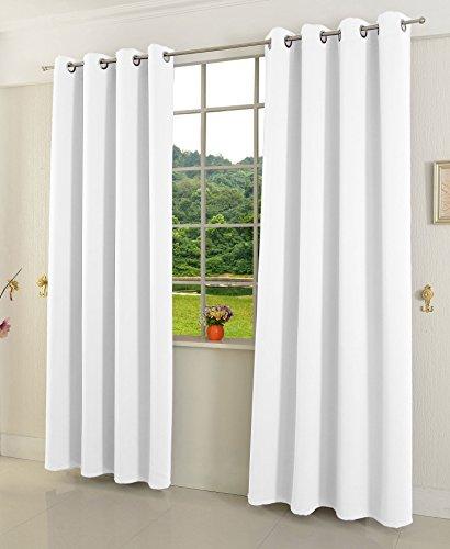 Gardinenbox Verdunkelungsvorhang Ösen matt Uni Farbe, Weiß, 245x135 (HxB) Blickdicht Blackout, 20600