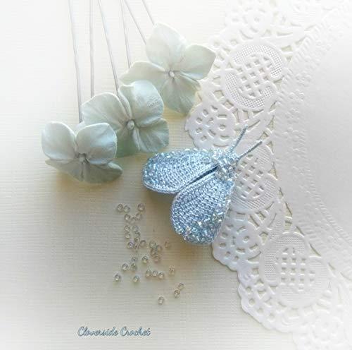 broche boho mariposa de ganchillo con cuentas