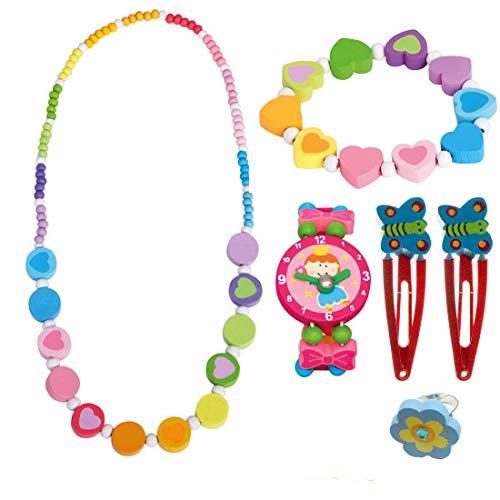 Bino 6 TLG. Set Holzschmuck Mädchenschmuck Kinderschmuck Motiv Regenbogen - Halskette Armband Regenbogen Herz Armbanduhr Ring 2 Haarspangen
