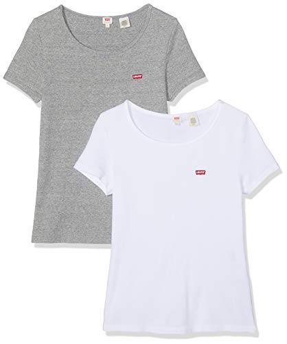Levi's Damen 2PACK Tee T-Shirt, Mehrfarbig (2 Pack White +/Smokestack Htr 0005), Large