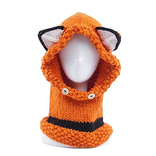 BTTHWR Winter Kids Warm Fox Sombreros de Animales Coif de Punto Capucha Bufanda Gorros para otoño Invierno,Naranja