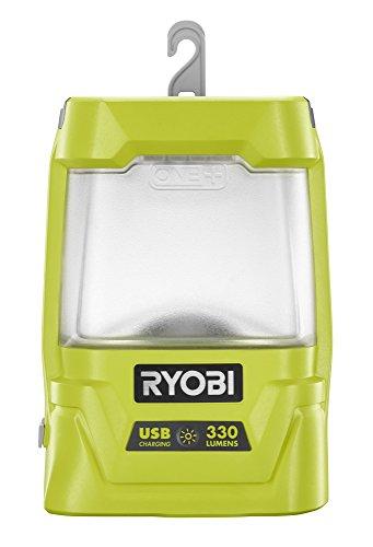 Ryobi R18ALU-0 Akku-Laternenlampe 18V R18ALU-0, für kurze bis mittlere Entfernung (3m), Langlebige LED, Mattierter Lampenschirm, 2 Leuchtstufen, 330 Lumen, Dreh-/Klappbarer Haken, 1,0A USB-Port