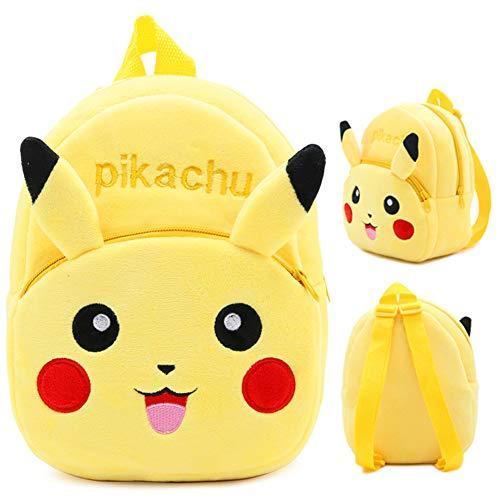 Kindergartenrucksack BAIBEI, für Kinder von 4–6 Jahren Plüsch Tier Klein Rucksack Kindergartentasche für Baby (Gelber Pikachu)