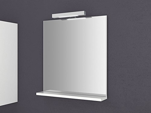Specchio con ripiano Girona 60 e 80 cm di larghezza, con illuminazione, da parete, da bagno
