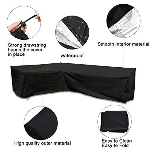 ESSORT L-Form Abdeckung für Gartenmöbel , L Form Schutzhülle Wasserdicht Sofa Abdeckung Schutz vor Staub und verlängert die Lebensdauer von Möbeln - 4