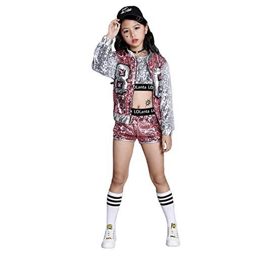 LOLANTA 4 Stück Mädchen Hip Hop Tanz Kostüm Kinder Pailletten Jazz Tanz Kleidung Set Socken angebracht (140, Rosa)