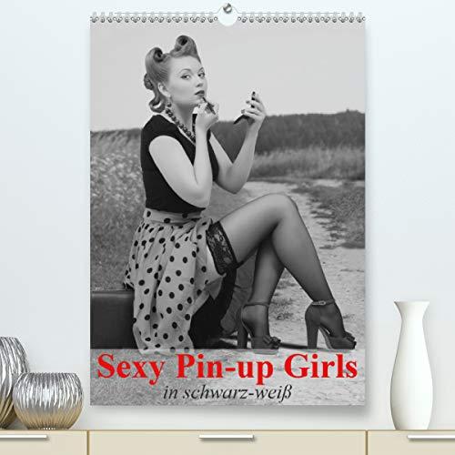 Sexy Pin-up Girls in schwarz-weiß (hochwertiger DIN A2 Wandkalender 2021, Kunstdruck in Hochglanz)