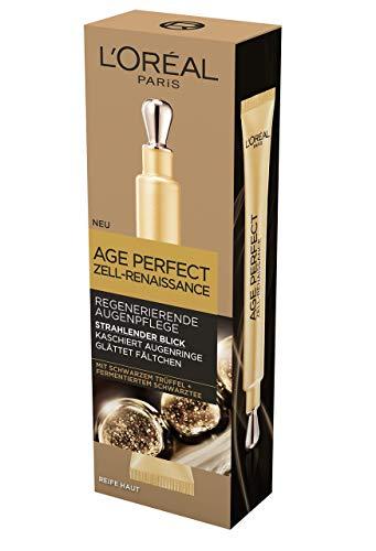 L'Oréal Age Perfect Zell-Renaissance Augenpflege, Regenerierende Augencreme mit schwarzem Trüffel und Schwarztee, gegen Falten und Augenringe, mildert Tränensäcke, 15ml