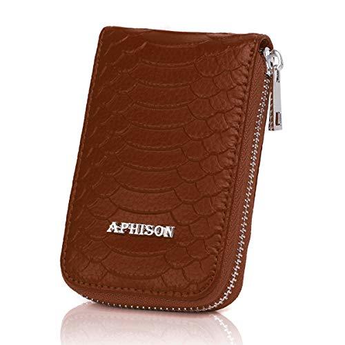 APHISONUK APHISON Damen RFID Schutz Blocking Leder Kartenetui Geldbörse minimalistische Portemonnaie Viele Fächer Veranstalter Kompakt für Frauen