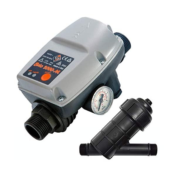 CONTROLADOR DE PRESIÓN «PRESCONTROL» PARA BOMBA DE AGUA ELECTRICA / FILTRO DE CARTUCHO Controlador Automático Monitor de flujo BRIO® sin cable para BOMBA DE AGUA DOMÉSTICA / BOMBA FUENTES / BOMBA DE POZO / BOMBA PARA POZO PROFUNDO / BOMBA ROTATIVA / BOMBA SUMERGIBLE