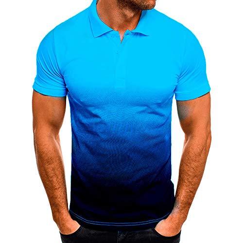 Sommer New Herren Casual Sports Revers 3D Gradient Kurzarm Polo Shirt