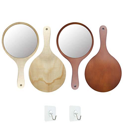 GZcaiyun 2 STK Handspiegel mit Griff,Tragbarer HD Holz Spiegel für Make up Haare Schneiden Rasieren Salon Gesichtspflege,mit 2 Haken(Holzfarbe/Braun)