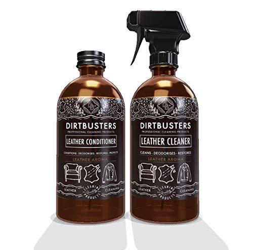 Dirtbusters Limpiador Solución Hidratador de Cuero Revitalizante, pH Neutro. Nutre, protege y Desodoriza Ropa de Piel y Interiores de Coche. Aroma a Cuero. 2x500ml: 1 Acondicionador y 1 Limpiador.