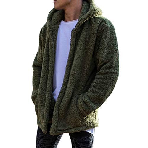 Frestepvie Herren Fleece Jacke öffnete Kapuzenpullover Winter Plüsch Hoodie Warm Winterjacke Dicker Sweatshirt Teddy-Fleece Mit Taschen