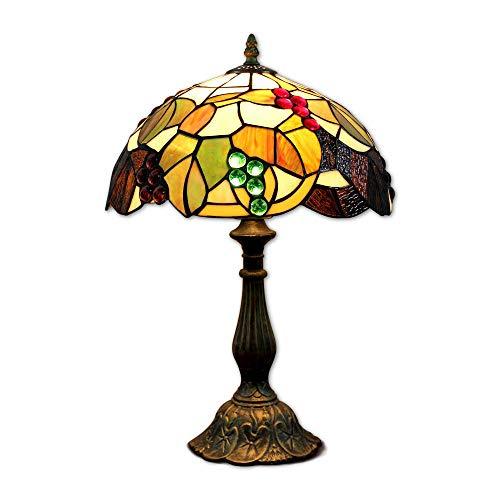 LW 12 Pouces vitrail Raisins Tiffany Lampe de Chevet E27 pour Chambre Salon rétro Vintage Art Deco Designer Lampe Lampe de Table