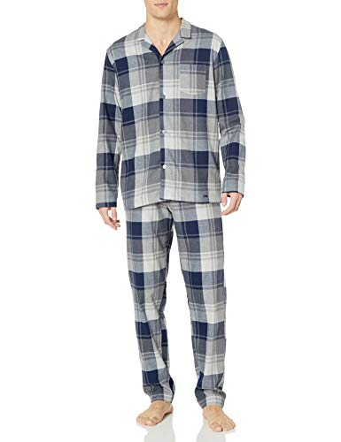 Hanro Herren Thilo Woven Long Sleeve Pajama Pyjama Set, Midnight Check, Small