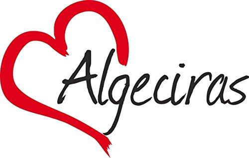 """Vinilo Adhesivo para el coche o la moto """" ALGECIRAS """" (Ciudad) corazón Sticker ca.9x14cm Pegatina sin fondo"""