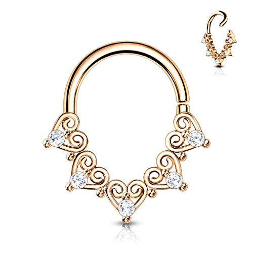 Trendy-Sandy Captive Bead Ring Daith Septum Piercing Fan Cubic Zirconia Helix Tragus Cartilage #787 Rose gold-coloured / 1 mm