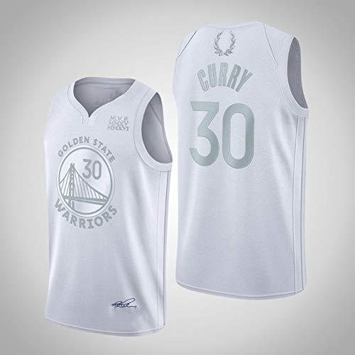 Haoshangzh55 Basketball Jerseys/Golden State Warriors # 30 Stephen · Curry Jersey Trainingsanzug MVP-Stickerei-Version Ärmel Schnell Trocknend Weste Erwachsene,Weiß,M