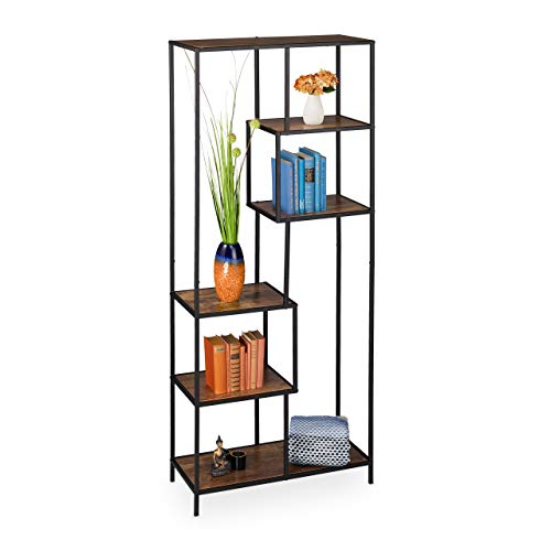 Relaxdays staande kast Vintage, industrieel design, open plank, houtlook, metaal, h x b x d: 185 x 77 x 33 cm, bruin-zwart, 1 stuk