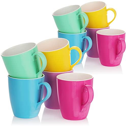 com-four® 10x [!!!B-Ware!!!] Trinkbecher mit Henkel - Kunststoff-Tasse aus Melamin - Multifunktionsbecher in bunten Farben - bruchfest [Auswahl variiert] (10 Stück - Tasse)