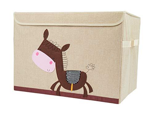 Bieco Aufbewahrungsbox mit Deckel | Esel Motiv 65L faltbar | ca. 36x36x51cm | Spielzeugkiste mit Deckel | Aufbewahrungsbox Kinder | Kisten mit Deckel | Aufbewahrungsbox Groß | Wickeltisch Organizer