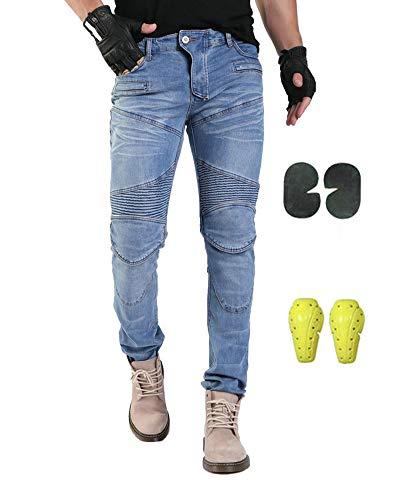 GELing Pantaloni Moto Uomo Jeans Aramid Con l'armatura,Blu,L