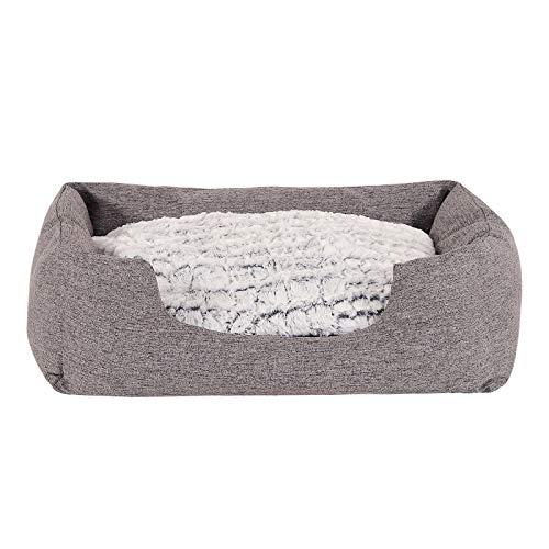 dibea Hundebett Hundekissen Hundekörbchen mit Wendekissen meliert Größe M 80x60 cm Farbe grau