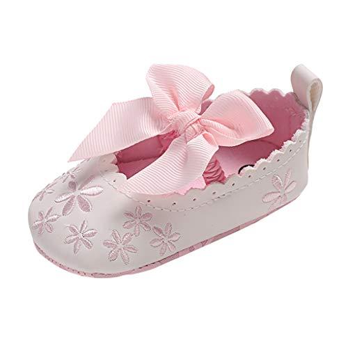 WEXCV Baby Mädchen Bow Stickerei Elegant Süß Weichen Sohle Krabbelschuhe Neugeborenen Sandalen Anti-Rutsch Licht Schuhe Lauflernschuhe für 0-20 Monate