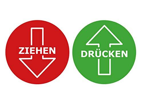 Deurbordje sticker trekken drukken waarschuwingsbord rood groen weerbestendig Ø 8,5 cm rond weer- en UV-bestendig