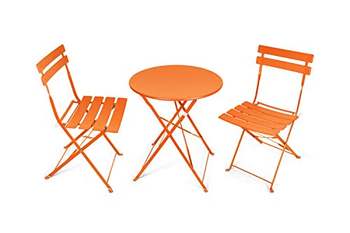Pationate Patio Folding Bistro Set Small Outdoor Porch Steel 3 Piece Set with Round Table and...