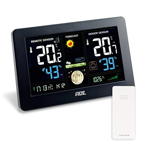 ADE Wetterstation WS 1704 mit Funk und Außensensor. Digitale Profi Funkwetterstation für präzise Vorhersage, Anzeige Innen- und Außen-Temperatur, Hygrometer. Großes LED Farbdisplay. USB-Anschluss