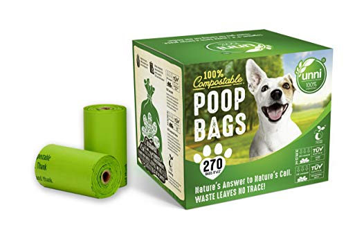 UNNI 100% Compostable Dog Poop Bags Extra Thick Pet Waste Bags 270 Count 18 Refill Rolls 9x13 Inches Earth Friendly Highest ASTM D6400 Europe OK Compost Home and Seedling CertifiedSan Francisco