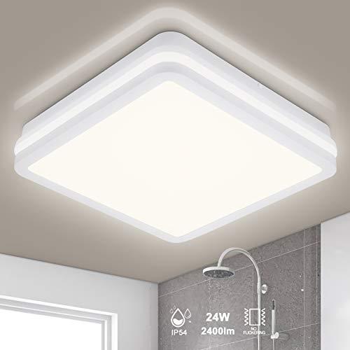 LED Deckenleuchte Bad, 24W 2400LM IP54 Wasserfest Badlampe, OPPEARL Flimmerfrei Deckenlampe für Wohnzimmer Küche Balkon Schlafzimmer Flur Badezimmer, Ø26cm Neutralweiß 4000K