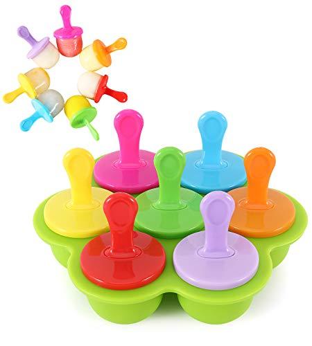 Nuovoware 7PZS Moldes Helados, Reutilizable Moldes Silicona, Moldes de Congelador para Helados y Aperitivos, Molde para Niños y Bebés - Verde