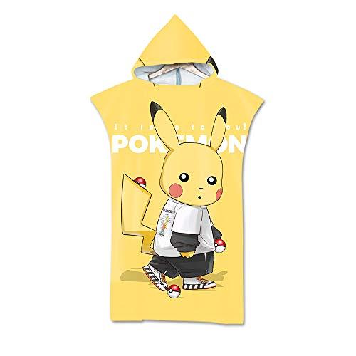 Adult Hooded Beach Towel Poncho, Pokémon Microfiber sneldrogende handdoek wetsuit, Change deken, Geschikt voor zwemmen en surfen Unisex