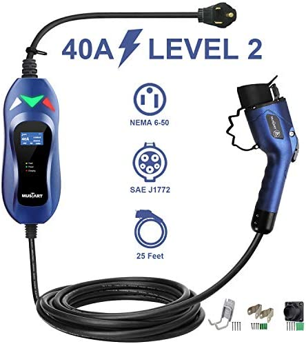 MUSTART Level 2 Portable EV Charger 240 Volt 25ft Cable 40 Amp Electric Vehicle Charger Plug product image