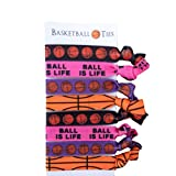 8 Piece Hair Elastic Set - Basketball Gift for Girls & Women - Accessories for Players, Coaches, Teammates, High School Basketball Teams, Women's Leagues - MADE in the USA