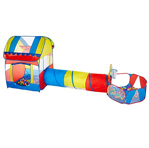 Sunba Youth 1 Kids Tent with Tunnel, Ball Pit Play House for Boys Girls, Babies and Toddlers Indoor& Outdoor