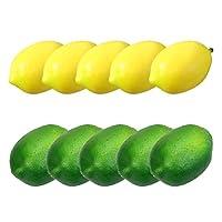 Desire Sky 7.8 * 5.5cmシミュレーション果物模型 デコレーション 生きているようなシミュレーション 装飾 道具 食品サンプル レモン ディスプレイ 果物 フルーツ 模型 (10個, イエロー)