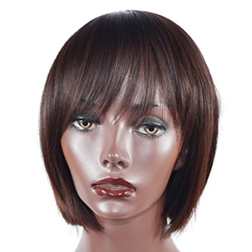 Extensión del cabello Bobo 40cm Peluca recta corta Cabello castaño oscuro con flequillo oblicuo Cabello de estudiante - Peluca realista natural Pelucas de pelo humano (Color : Dark brown)