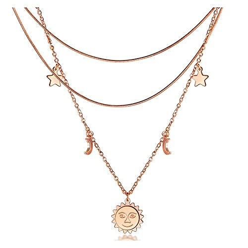 WFS Regalo Collar Colgante de múltiples Capas de la Vendimia para Las Mujeres Rose Oro Redondo Corazón Moon Star Star Gargantilla Joyería de Moda Joyas (Color : Rose Gold)