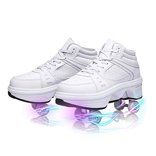 YOUSIOI Deformation Invisible Roller Skate Automatic Walking Shoes 7 Color Changing Light Bar Roller Shoes for Women Men Boys and Girls (White Without Light, 7.5)