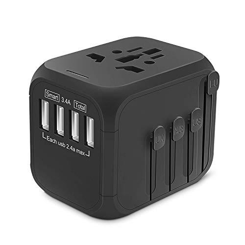 KONKY Adaptador Enchufe de Viaje Universal, All-in-on Enchufe Adaptador Internacional con Cuatro Puertos USB para US UK AU EU mas de 200 Paises, 100-240V AC con Seguridad Integrada, Negro