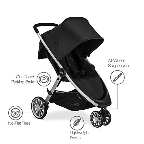 Britax B-Lively Lightweight Stroller - Up to 55 pounds - Car Seat Compatible - UV 50+ Canopy - Easy Fold, Raven