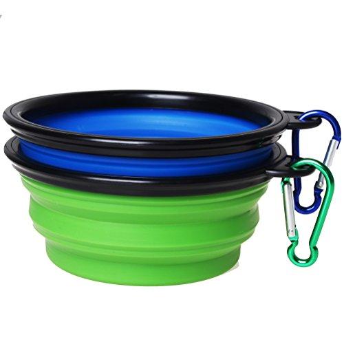 Sumaju - Set di 2 ciotole per cani - pieghevoli in silicone - con moschettone da viaggio e alpinismo - per l'acqua e cibo - colori: blu, verde Blue&Green