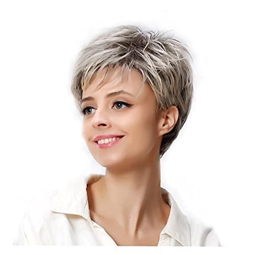 ZRJ Peluca Clásica Plata Pelucas Blancas Female Bonbon Oblique Bangs Corta Cabello Recto Capucha Química Peluca de Fibra química Synthetic Bob Wigs Peluca Decorativa