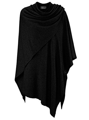 Zwillingsherz Poncho-Schal mit Kaschmir - Hochwertiges Cape für Damen - XXL Umhängetuch und Tunika mit Ärmel - Strick-Pullover - Sweatshirt - Stola für Sommer und Winter von Cashmere Dreams (Black)