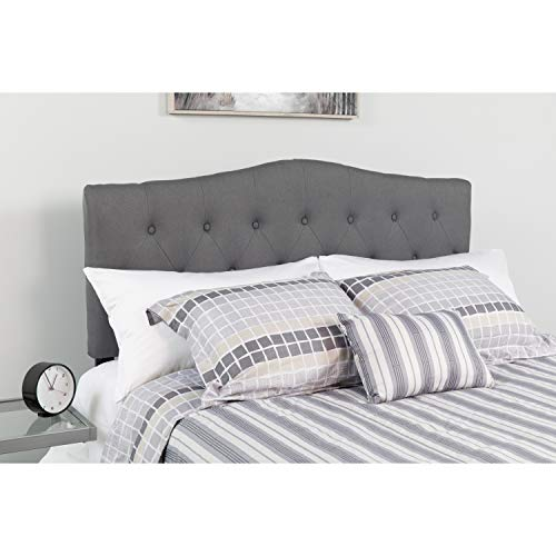 Flash Furniture Cambridge Tufted Upholstered Queen Size Headboard in Dark Gray Fabric