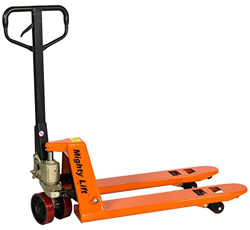 Mighty Lift ML2036 Narrow Specialty Pallet Jacks Trucks, 5,500 lb Capacity, 20' x 36' Fork,Orange